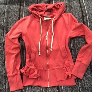 Anthropologie Hoodie Jacket with Frills GUC